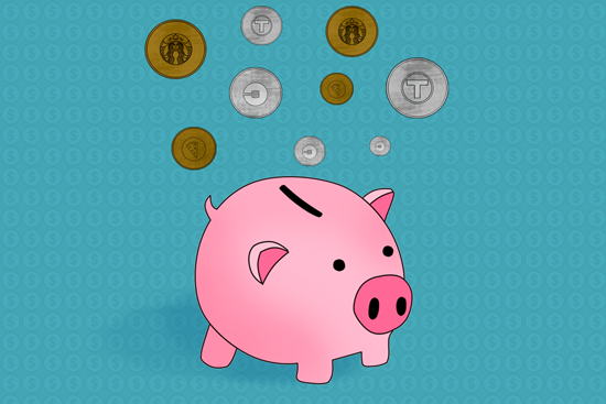 piggy bank and coins illustration by Mara Sassoon