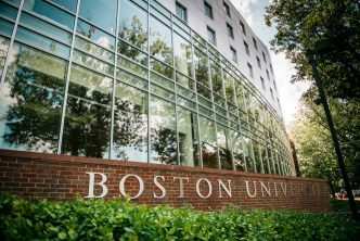 The Boston University sign on the new Wheelock campus