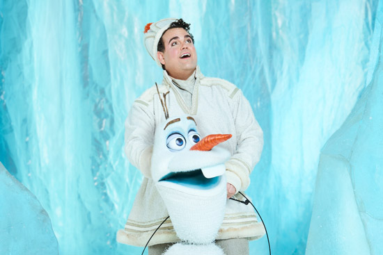 "Greg Hildreth in costume as Olaf from ""Frozen, the Broadway Musical"""