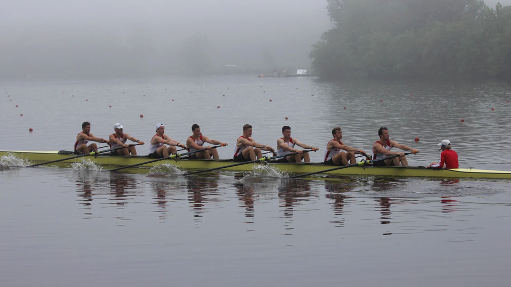The men's rowing team on the Charles River