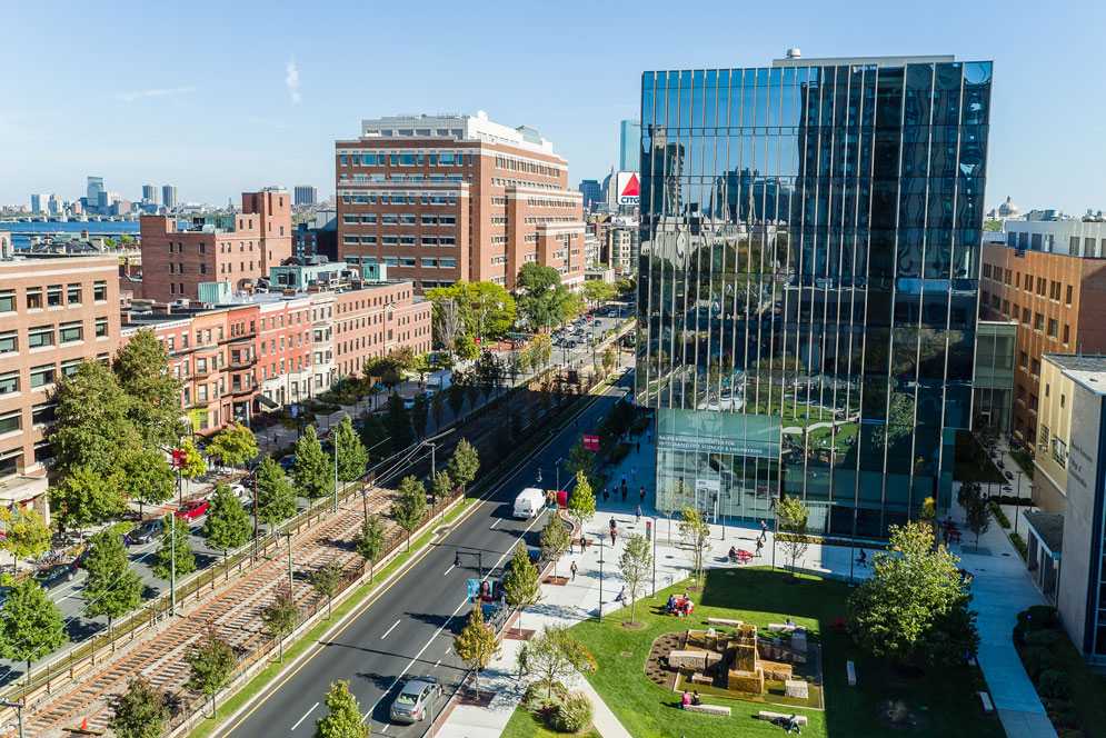 aerial shot of kenmore square and the boston skyline over BU's campus