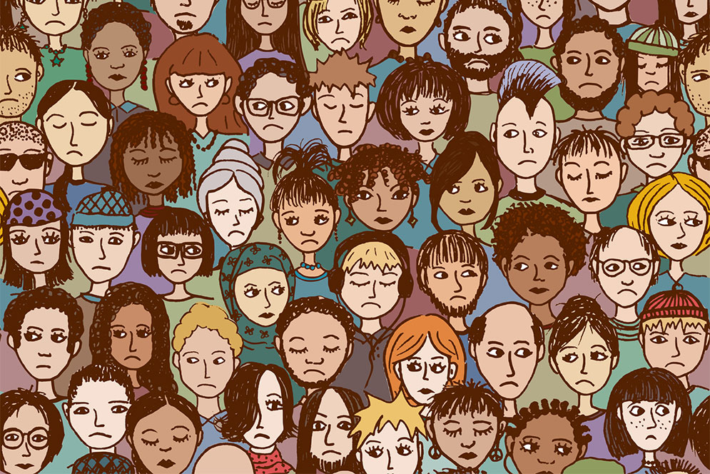 Illustration showing a crowd of multicultural unhappy people many with frowns or sad faces.
