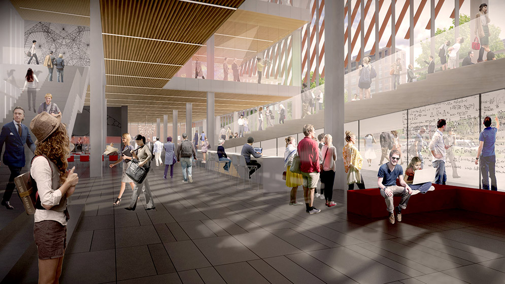 Architectural rendering showing activity on the ground floor of the new Boston University Data Sciences Center.