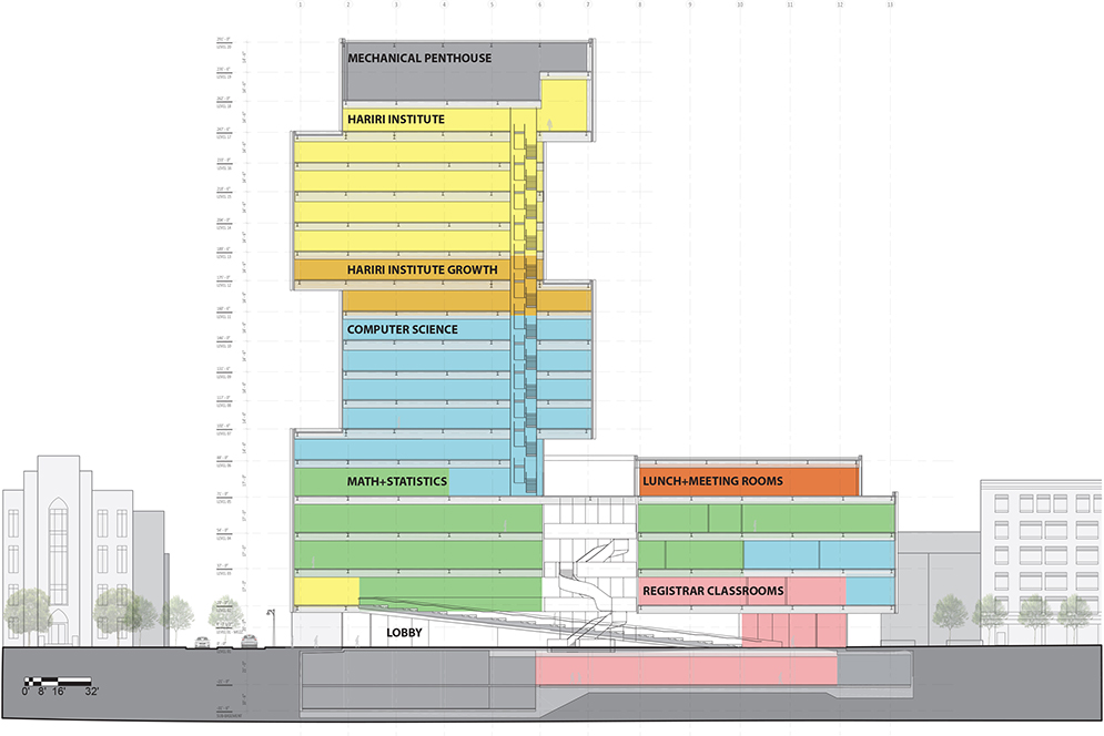 Labeled and color-coded diagram in the shape of the Boston University Data Sciences Center building showing where each department will be located in the building and how many floors each department will occupy.