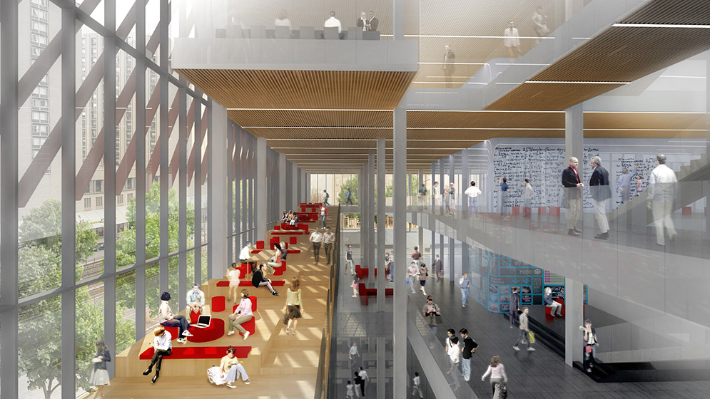 Architectural rendering showing the. collaboration terraces, built to encourage scientific interaction and collaboration, inside the new Boston University Data Sciences Center.