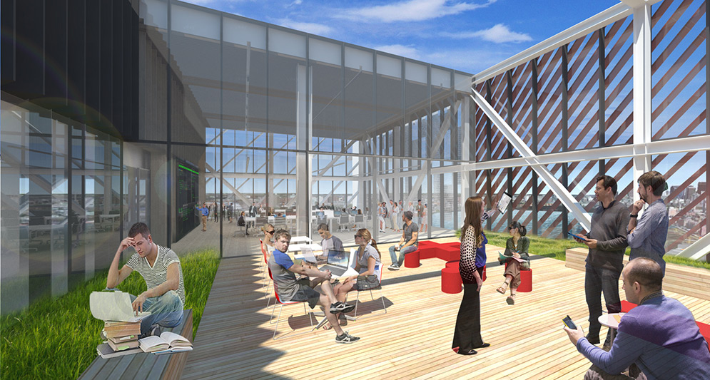 Architectural rendering of the 17th Floor outdoor terrace at the Boston University Data Sciences Center. Students study and converse on a sunny wooden terrace with benches and grass beds.