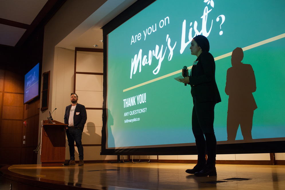 Two students pitch their company, Mary's List.