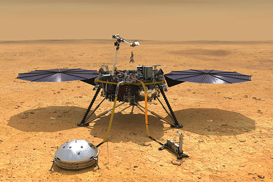 NASA artistic rendering of the InSight Lander vehicle on the Mars surface.