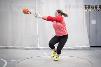 Sarah Cicchetti throws a 20 lb ball in the weight throw