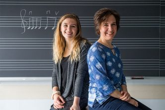 Student Madeline Bucci and College of Fine Arts professor Karin Hendricks sit back-to-back in front of a blackboard with music notes written in chalk.