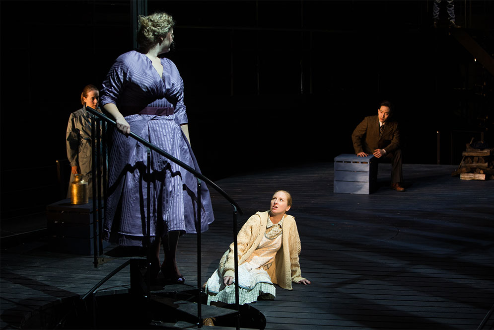 Emilie Faiella, Julia Wolcott, Megan Callahan, and Dongwhi Baek, act out a scene during a dress rehearsal of Stephen King's, Dolores Claiborne adapted into an opera by Tobias Picker.