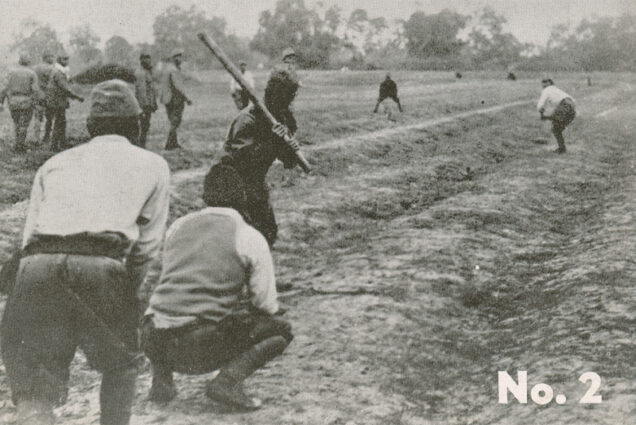 Japanese soldiers playing the American game of baseball supposedly in China during the war