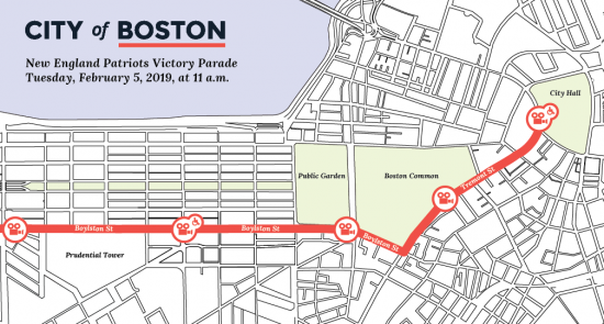 Patriots Parade route map
