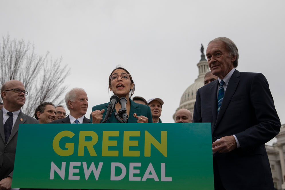 Congresswoman Alexandria Ocasio-Cortez (CAS'11) (D-N.Y.) unveiled the Green New Deal earlier this month, a plan to decarbonize the economy within 10 years. Photo by Alex Edelman/picture-alliance/dpa/AP Images