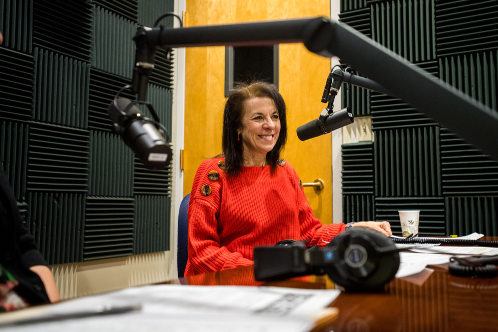 Nutrition professor Joan Salge Blake in the studio recording a podcast