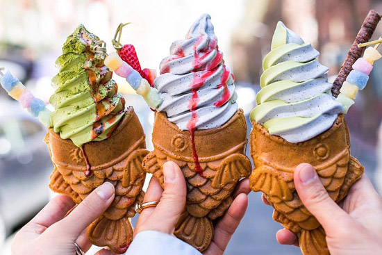 Fish shaped ice cream cones