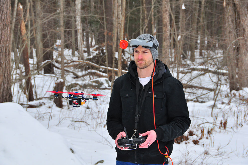Photograph of Wil Koch flying his drone