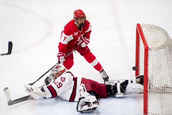 Sophomore Jesse Compher (CGS) reacts to just missing the net after taking a shot on goal during the first period of the championship round of the 41st Women's Beanpot Tournament at Harvard Feb 12, 2019. Photo by Cydney Scott