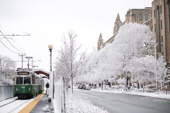The MBTA Green Line in winter, at Bay State Rd, Kilachand Center, and Marsh Plaza