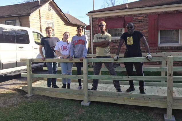 Volunteers on the ASB Tennessee trip on a wheelchair ramp they built. Photo courtesy of Anthony Dongfack