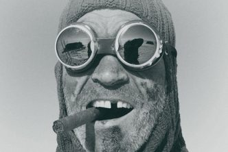black and white portrait of Henry Worsley in winter gear