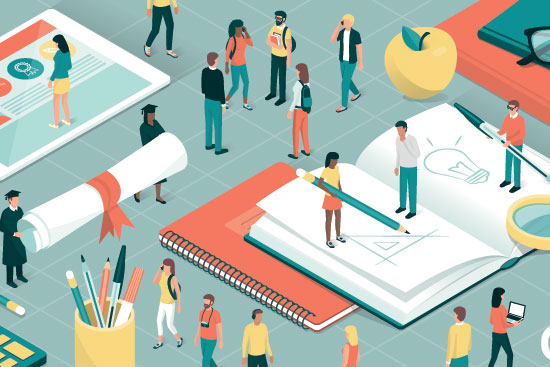 vector drawing of miniature students and teachers standing on top of giant school supplies and collaborating