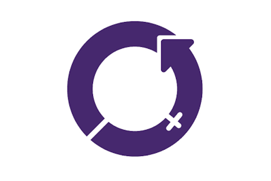 Purple International Women's Day logo on white background