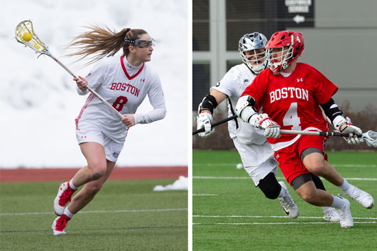 two images of a BU women's lacrosse player and a BU men's lacrosse player side by side