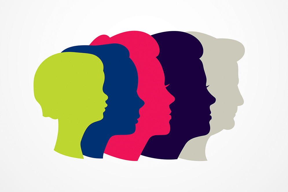Aging concept graphic showing the silhouette of a woman's head from little girl to senior woman.