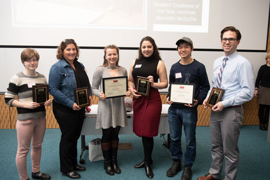 Student employee of the year winners Darya I. Lugina (CAS, CFA'19), from left, Supervisor of the Year winner Randi Rotjan, Grace Robbins (GRS SPH), Jennifer Jaroslavsky (CAS'15, CFA'15,'17,'19), Aaron Hwang (ENG'21), and Supervisor of the Year Runner-Up Scott Kohen at the 30th Annual Student Employee of the Year and Supervisor of the Year Celebration at Kilachand CILCSE April 8, 2019.