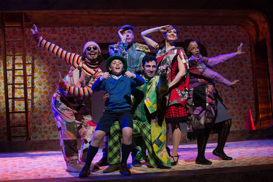 Ricky Holguin as Earthworm, Cameron Levesque as James, Russell Garrett as Centipede, Jared Troilo as Grasshopper, Aimee Doherty as Ladybug, and Cheryl D. Singleton as Spider in the Wheelock Family Theatre production of James and the Giant Peach.