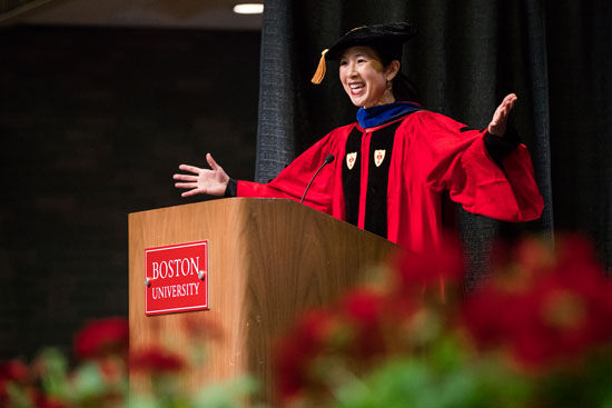 Boston restaurateur Joanne Chang told graduates the secret behind her famous pork-and-chive dumplings during her the School of Hospitality Administration Convocation address May 18.