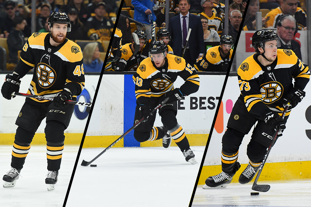 Composite image of Boston Bruins players game photos (from left) Matt Grzelcyk, Charlie Coyle, and Charlie McAvoy.
