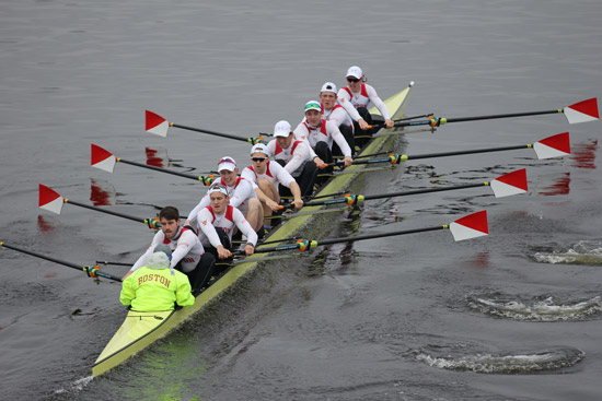 The BU men's rowing team on the water