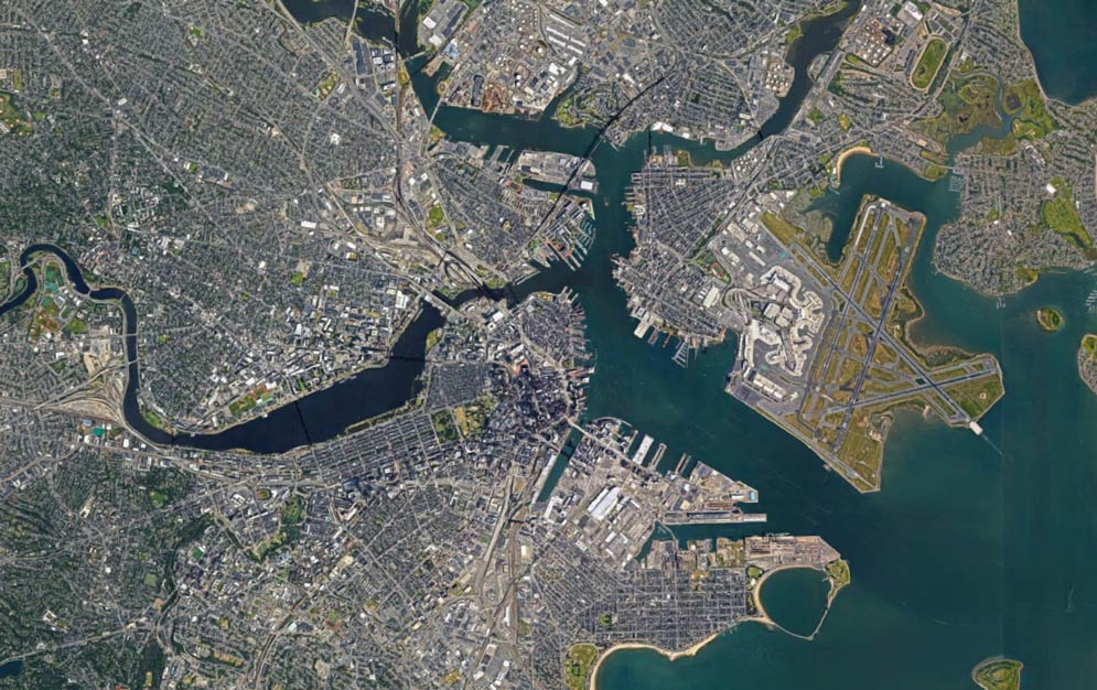 satellite image of Boston, MA