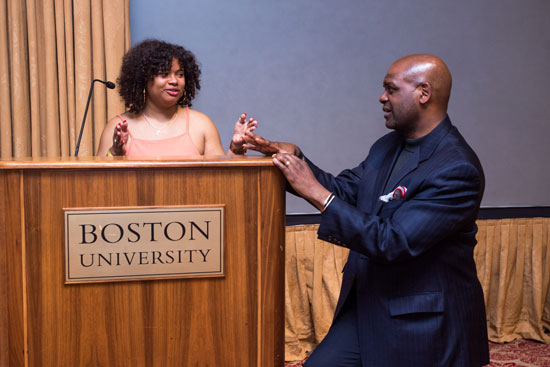 Adia Turner practices her commencement speech with Boston University Dean of Students Kenneth Elmore