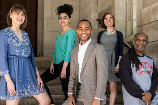 "Members of the Class of 2019 selected to speak at Marsh Chapel's annual ""This I Believe"" Sunday: Carolyn Hoffman (CAS'19, SPH'20) (from left), Denise-Nicole Stone (CAS'19), Jonathan Allen (LAW'19), Katherine Ward (ENG'19), and Karey Statin (CAS'18, MET'19)"