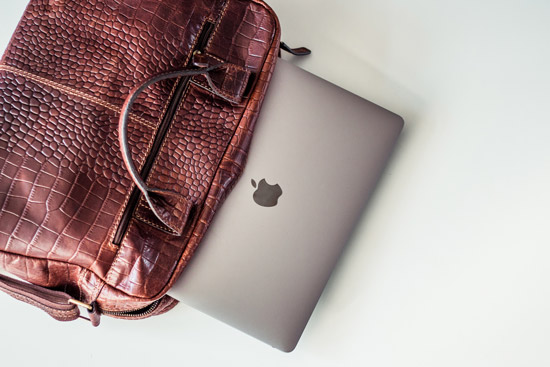professional bag with Apple MacBook Pro sliding out.