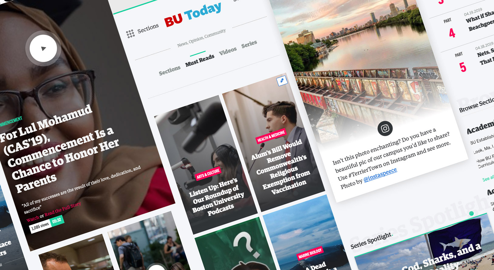 Composite image of screenshots from the 2019 redesign of BU Today