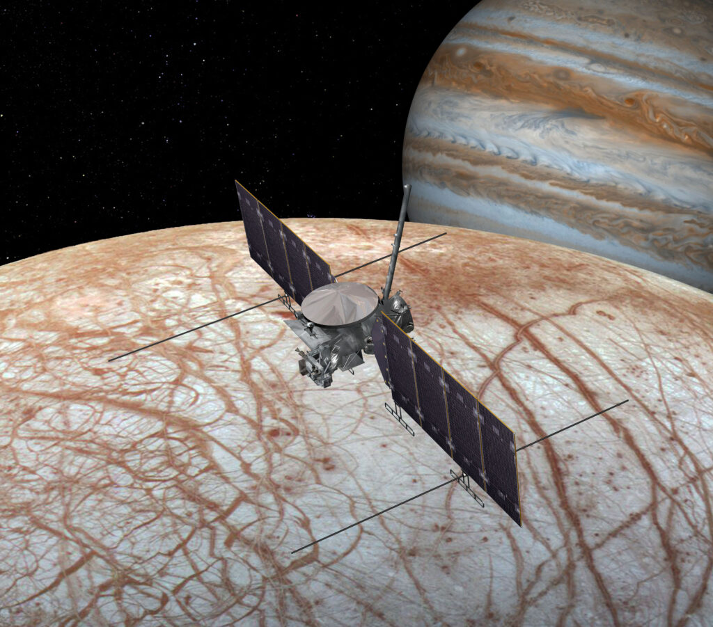 A computer-generated image of the Europa Clipper mission