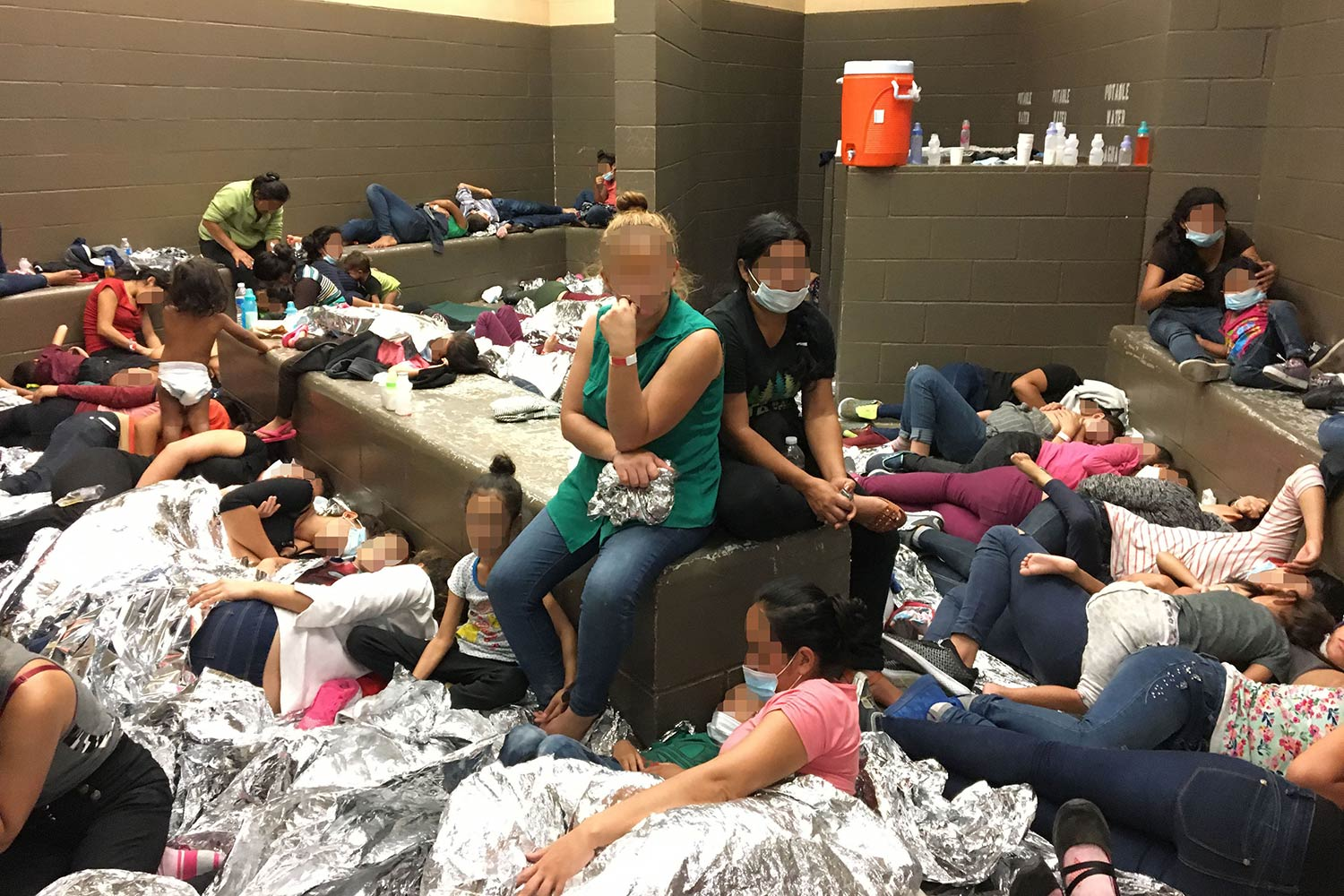 Immigrant families overcrowded at U.S. Border Patrol Weslaco Station on June 11, 2019, in Weslaco, Texas