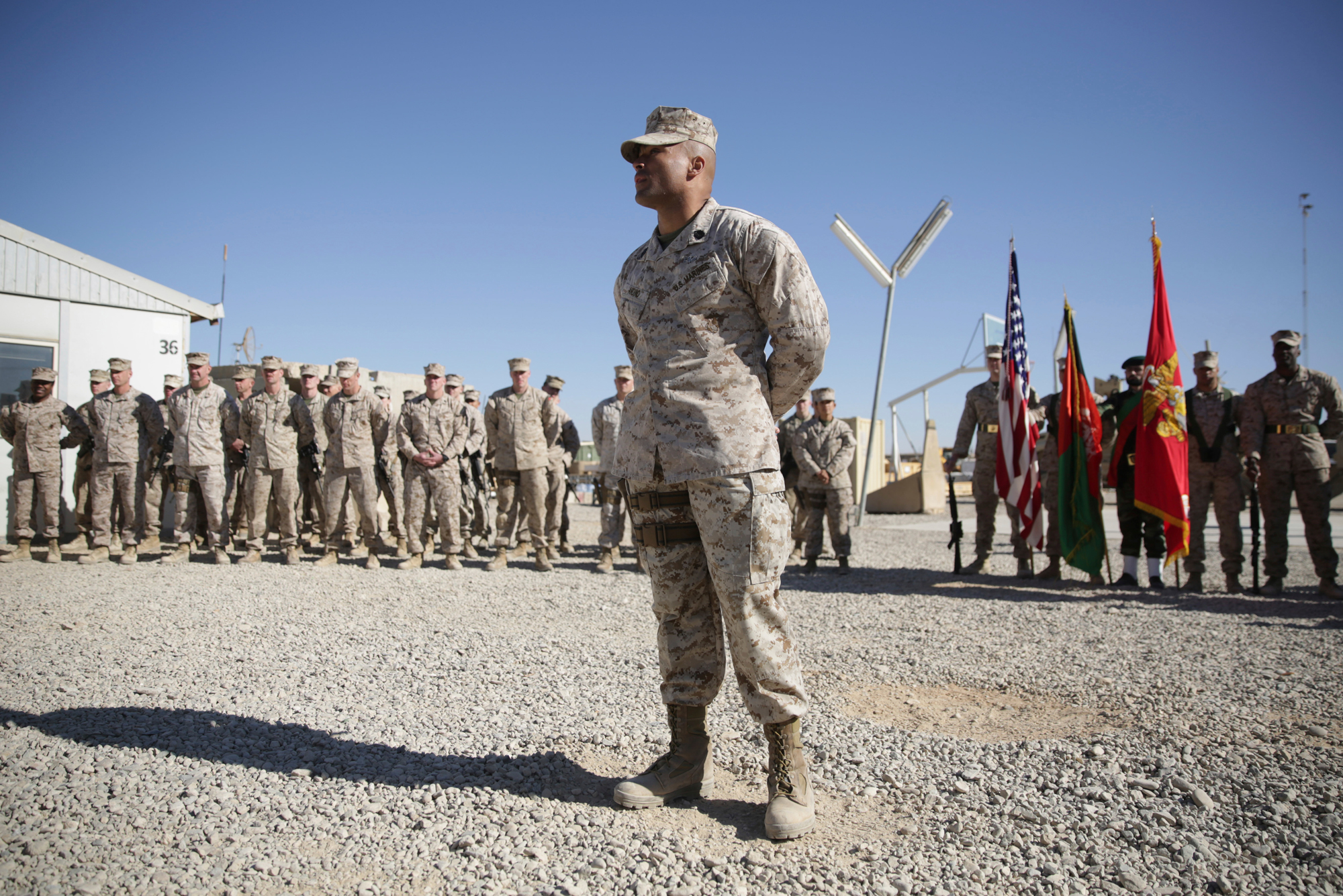 U.S. Marines stand guard at Task Force Southwest military field in Shorab military camp of Helmand province, Afghanistan