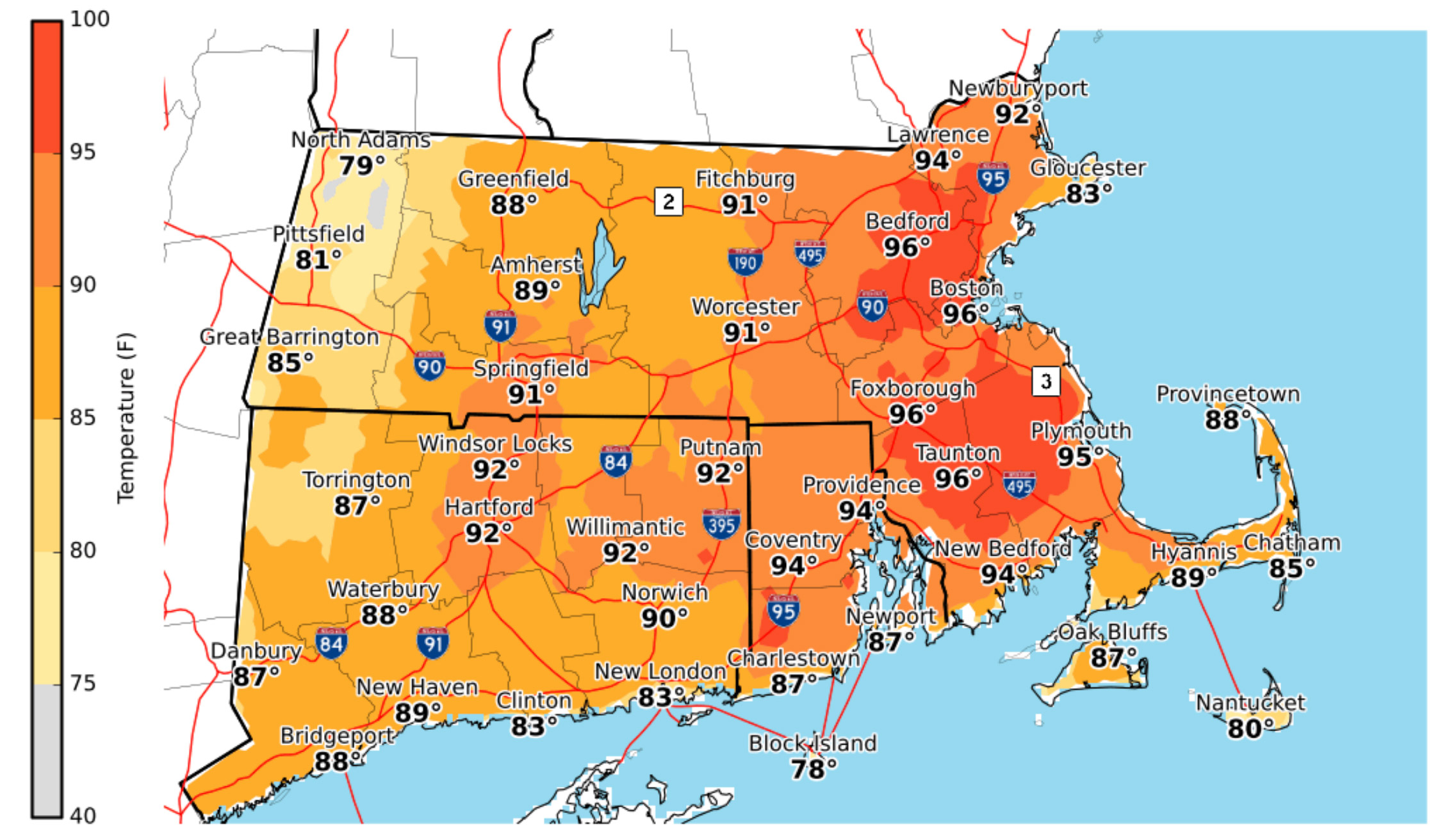 a temperature map of Boston during extreme heat on July 31