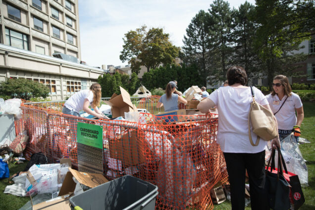 Don't forget to break down and recycle cardboard boxes at your dorm's designated recycling area. Photo by Carl Peer