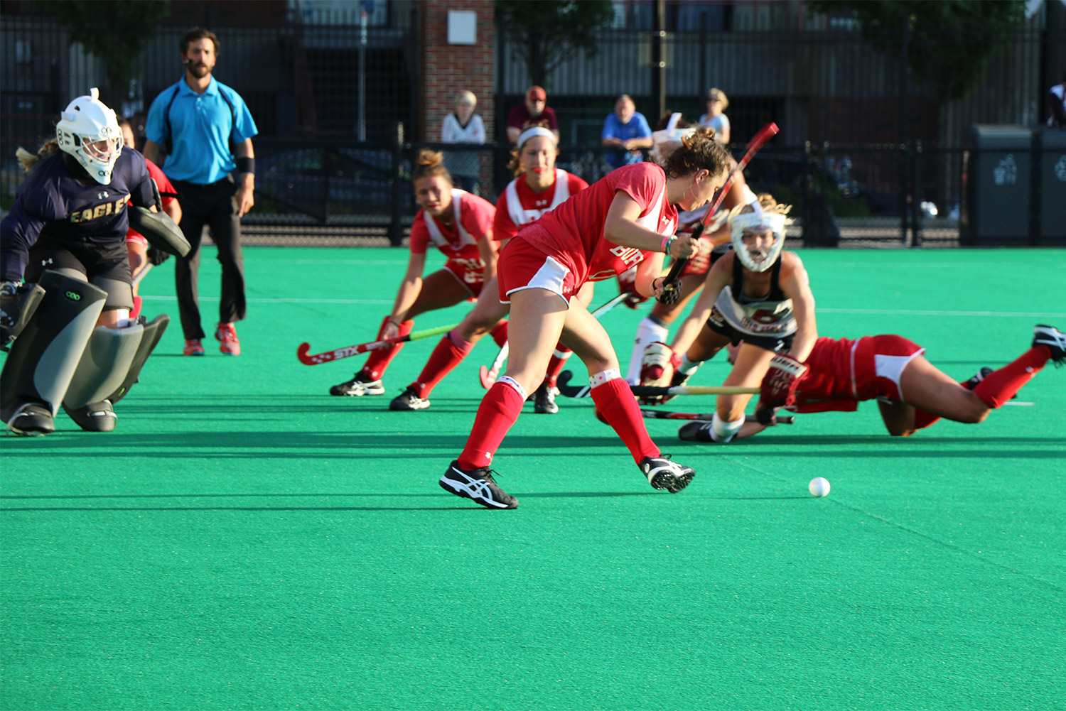 BU Terriers field hockey player Ailsa Connolly takes a shot during a game.