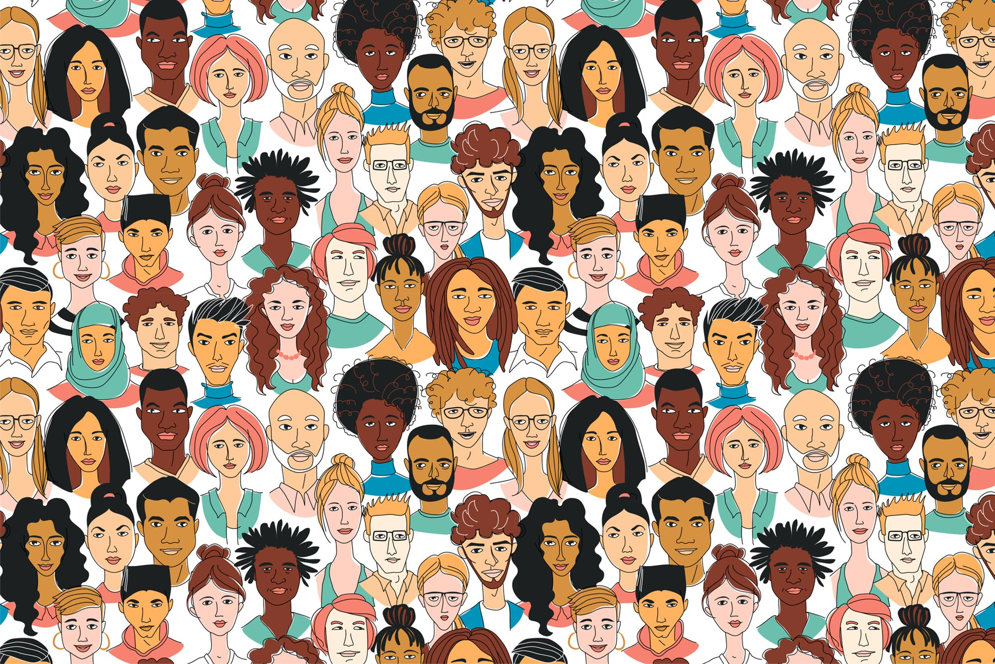 Illustration showing faces from different races and ethnicities.