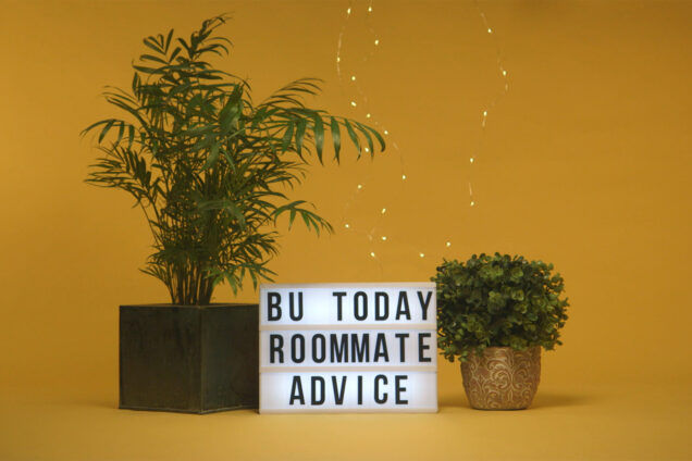 Two house plants on either side of a lightbox sign that says 'BU Today Roommate Advice'