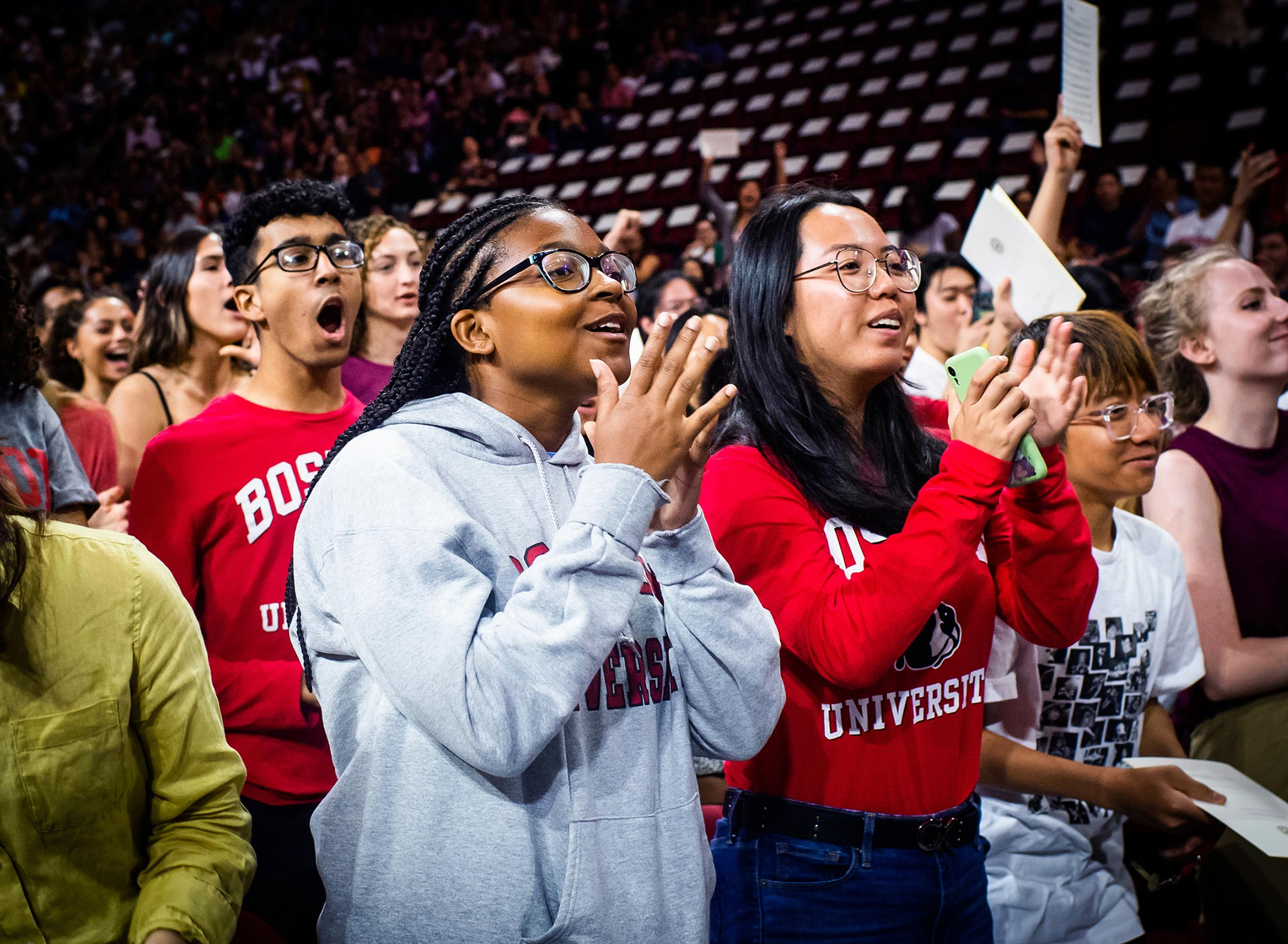 Students from the Boston University Class of 2023 cheer during the Matriculation Ceremony, Sunday, September 1 at Agganis Arena.