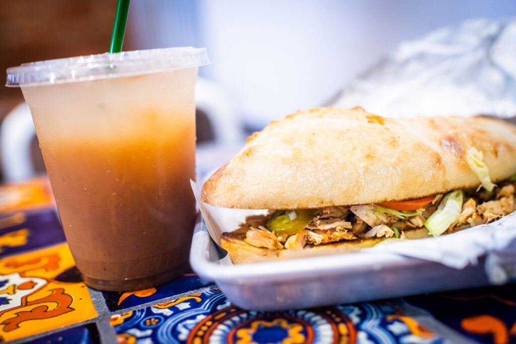 The chicken torta with a tamarind agua fresca