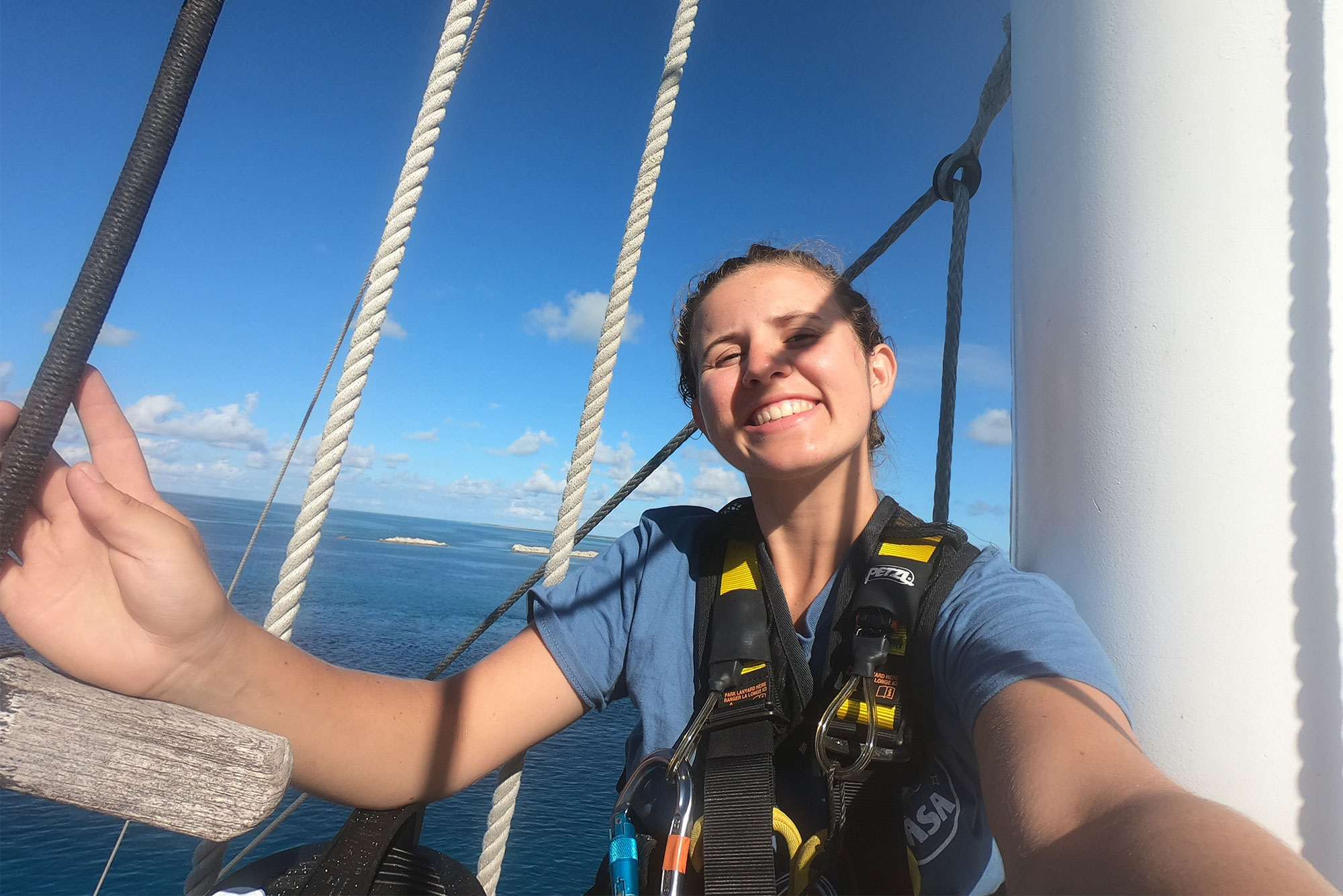 Selfie of Boston University student Allie Cole aboard the scientific vessel Robert C. Seamans in the Phoenix Islands Protected Area.